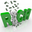 RIch - Man and Money in Word - Stock Photo