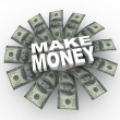 Make Money - 100 Dollar Bills and Words - Stock Photo