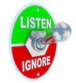 Listen Vs. Ignore - Toggle Switch — Stock Photo