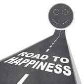 幸福-微笑的脸在街道路面的道路 — 图库照片