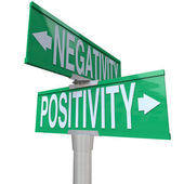 Positivity vs Negativity - Two-Way Street Sign — Stock Photo