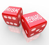 Risk and Reward - Words on Dice — 图库照片