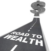 Road to Wealth - Words on Street — Stock Photo