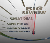 Big Savings - Speedometer Measures How to Save — Stock Photo