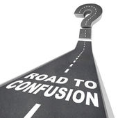 Road to Confusion - Words on Street — Stock Photo