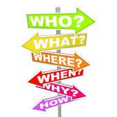 矢印標識 - 質問者どのような場所ときなぜどのように — ストック写真