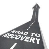 Road to Recovery Words on Pavement - Up Arrow — Photo
