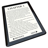E-Book Reader with Novel on Screen — 图库照片