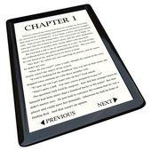 E-boek lezer met roman op scherm — Stockfoto