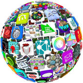 App Icons in a Sphere Pattern — Stock Photo