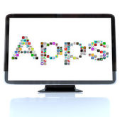 Apps Word Icons on Television Screen — Stock Photo