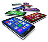 Many Smart Phones with Apps on Touch Screens — Stockfoto
