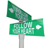 Follow Your Heart - Two-Way Street Sign — Stock Photo