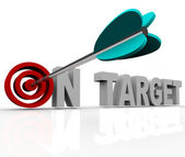 On Target - Arrow on Bulls-Eye — Stock Photo