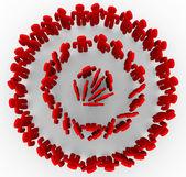 Targeted in Red Rings of Bullseye — Stock Photo