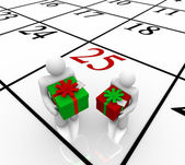 Christmas Calendar - Exchanging Gifts — Stock Photo