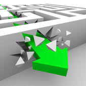 Green Arrow Breaks Through Maze Walls — Stock Photo