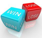 骰子-赢 vs 失去 — 图库照片
