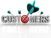 Customers - Target and Arrows Hit the Word — Stock Photo