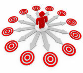 Many Opportunities are Targeted - Man and Arrows — Stock Photo