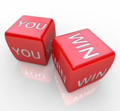 You Win - Words on Red Dice — Stock Photo