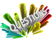 Signos de interrogación - coloridos símbolos 3d — Foto de Stock