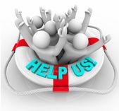Help Us - in Life Preserver — Stock Photo