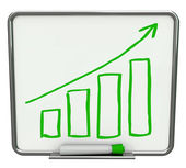 Growth Bars and Arrow on Dry Erase Board with Marker — Stock Photo