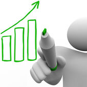 Drawing Growth Bar Chart on Board — Stock Photo