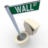 Wall Street Sign Flushing Down Toilet — Stock Photo