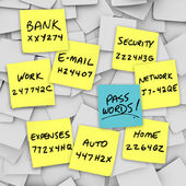Passwords Written on Sticky Notes — Stock Photo