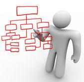 Osoba pobírající organizační graf na skleněné desce — Stock fotografie
