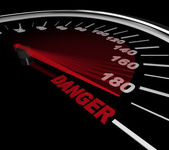 Danger - Word on Speedometer — Stock Photo