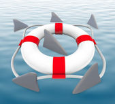 Shark FIns Circling Life Preserver — Stock Photo