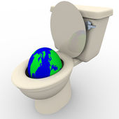 Flushing Earth Down the Toilet — Stock Photo