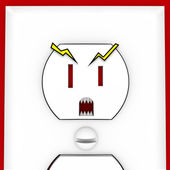 Scary Face on Electrical Outlet — Stock Photo