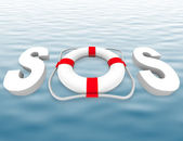 SOS - Life Preserver on Water Surface — Stock Photo