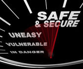Safe and Secure - Speedometer — Stock Photo