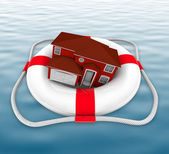 Home in Life Preserver on Water — Stock Photo