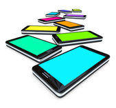 Smart Phones - Array of Colored Screens — Stock Photo