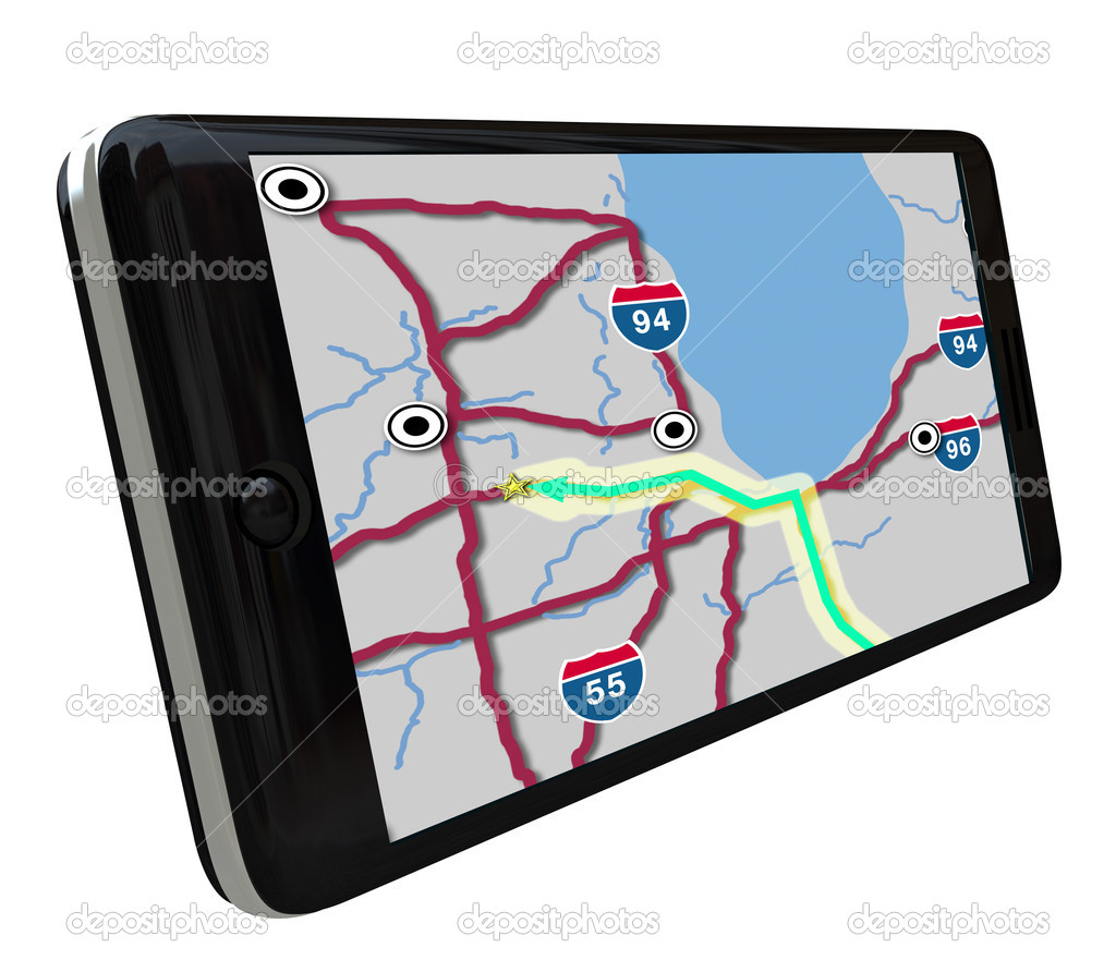 A navigation map on a smart phone GPS app screen — Stock Photo #4434374