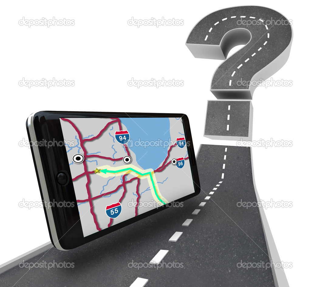A GPS navigation unit on a road leading to a question mark symbolizing finding a route — Stock Photo #4434375