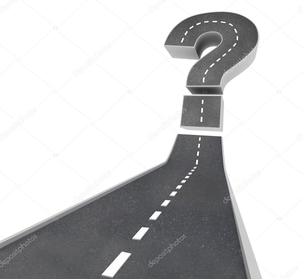 A road leading to a question mark symbolizing uncertainty and doubt — Stock Photo #4434428