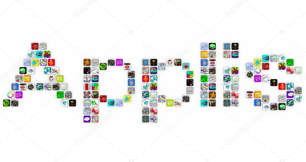 Applis - the French translation of Apps - made of application icons similar to those on a smart phone or other modern device — Stock Photo #4434476
