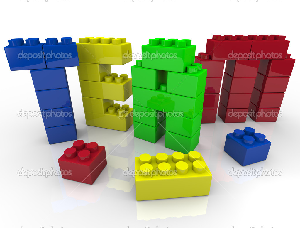 Team building - putting letters together with toy blocks — Stock Photo #4434497
