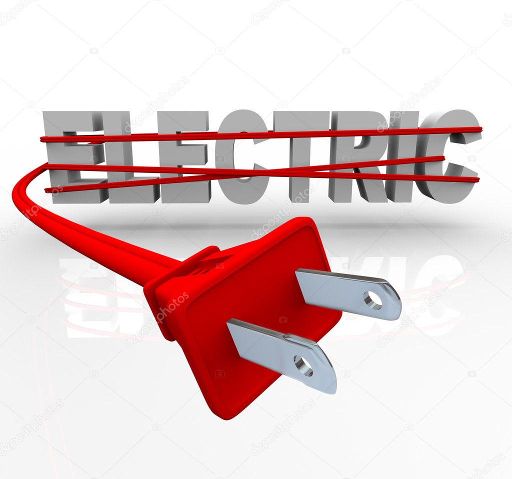The word Electric wrapped in a red power cord — Stock Photo #4439477