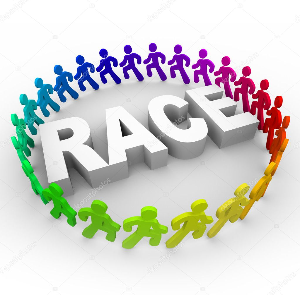Many runners of different colors run around the word Race  Stock Photo #4439524