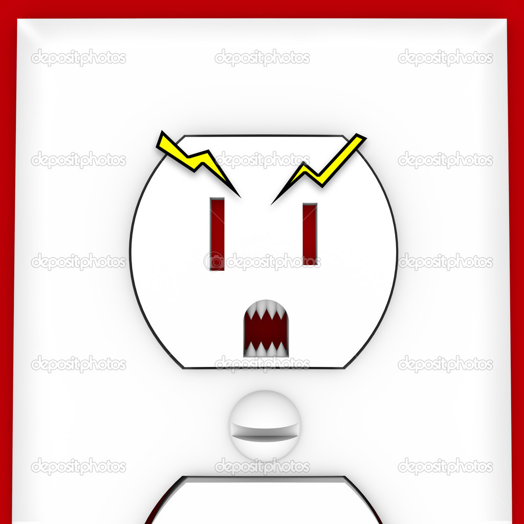 scary face on electrical outlet stock photo iqoncept 4439630. Black Bedroom Furniture Sets. Home Design Ideas