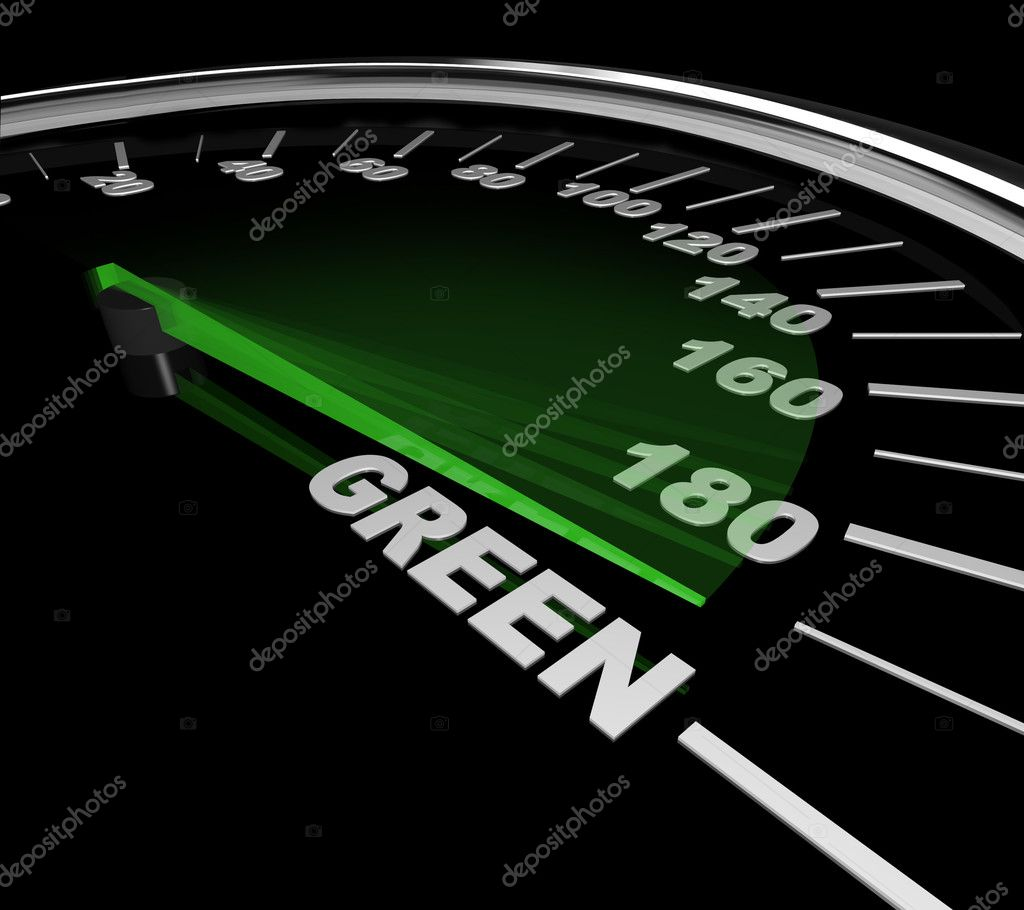 The needle on a speedometer points to the word Green — Stock Photo #4439869