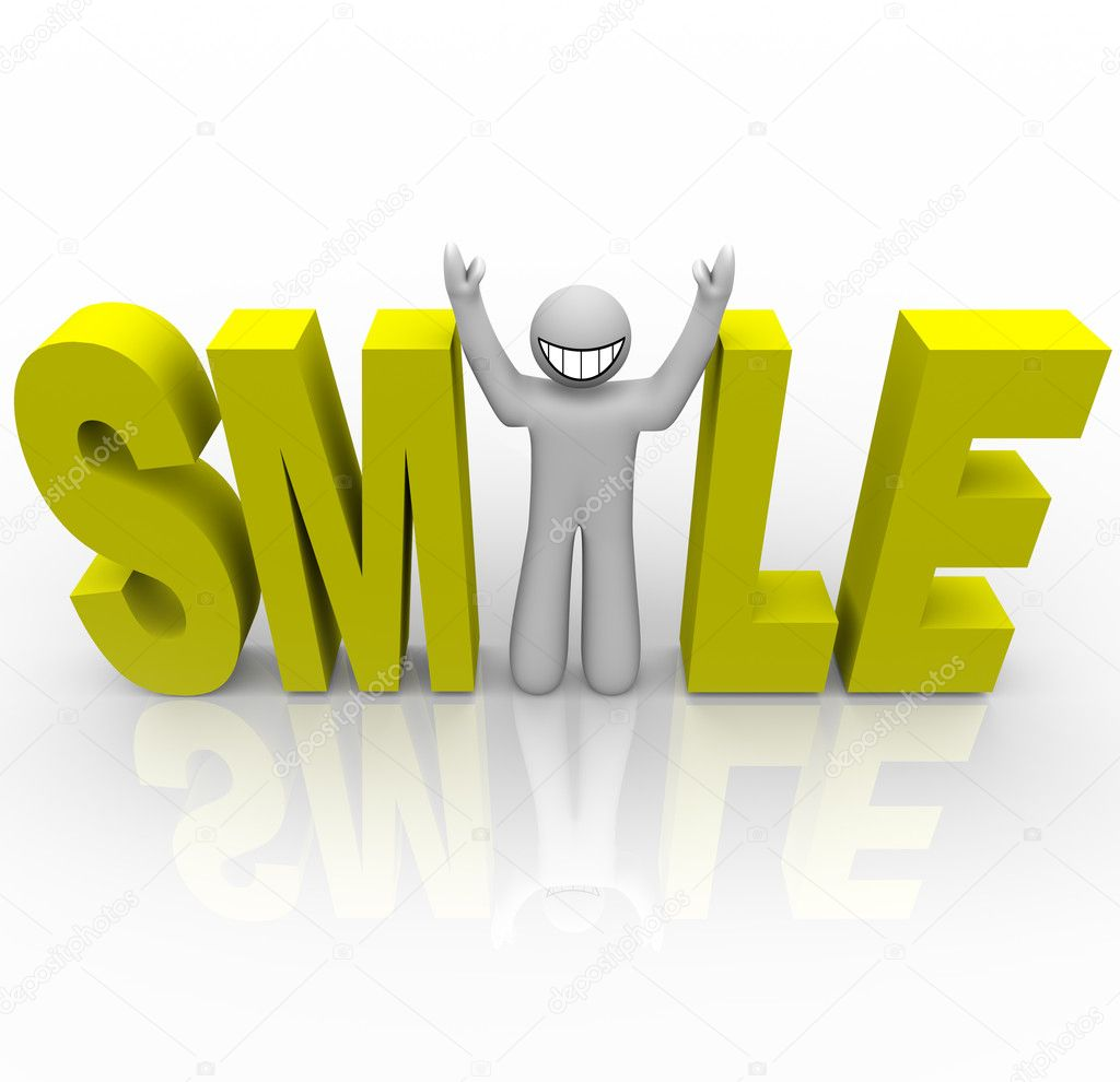 Smile - Smiley Man in Word - Stock ImageThe Word Smile